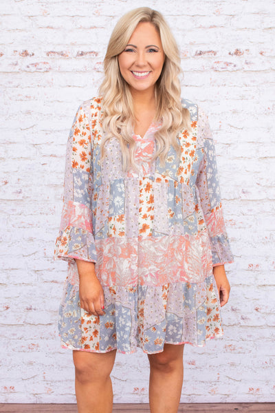dress, short, long sleeve, vneck, bell sleeves, tiered, flowy, mixed floral, blue, white, orange, pink, green, comfy