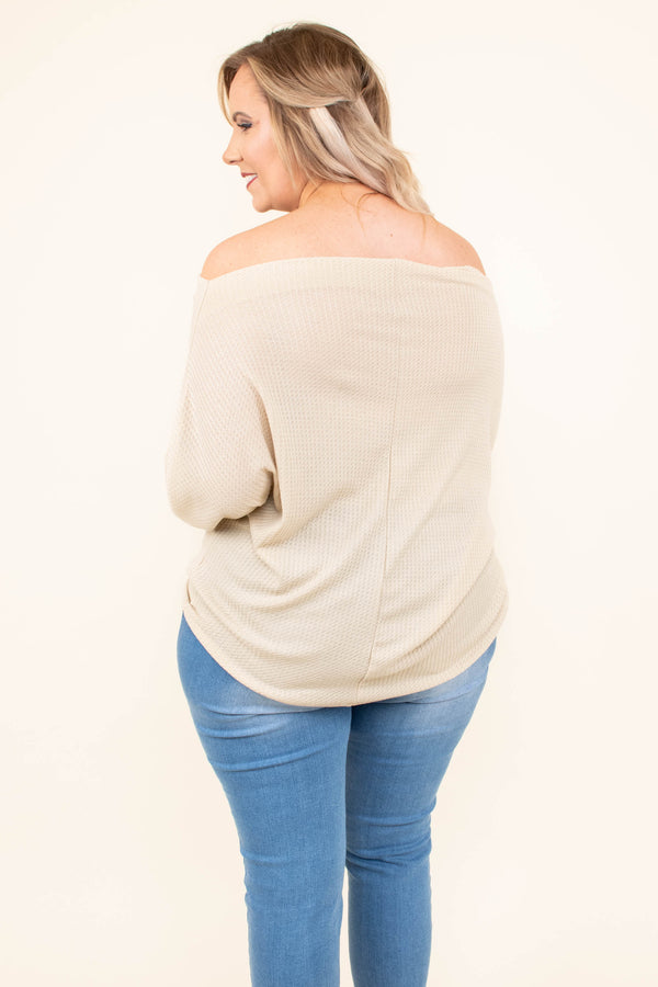 top, long sleeve, oatmeal, off the shoulder, comfy, balloon sleeve