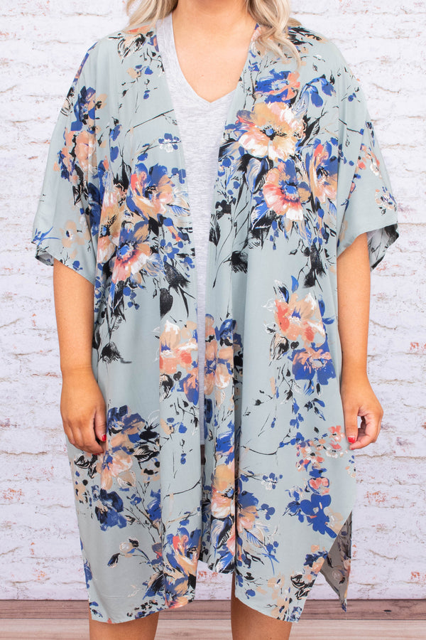 kimono, three quarter sleeve, long, asymmetrical hem, flowy, thin, green, floral, blue, peach, white, comfy, spring, summer