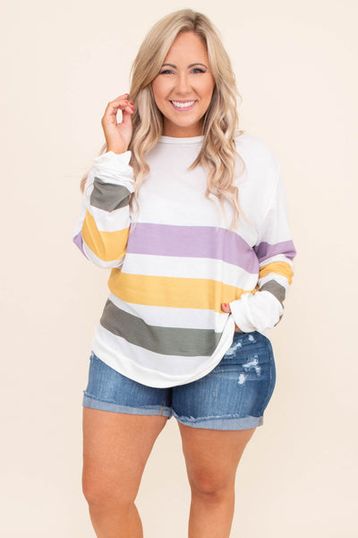 shirt, long sleeve, curved hem, loose, white, purple, mustard, gray, colorblock, comfy