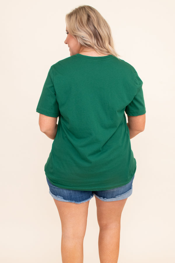 tshirt, short sleeve, loose, green, graphic, one lucky mama, four leaf clovers, white, comfy
