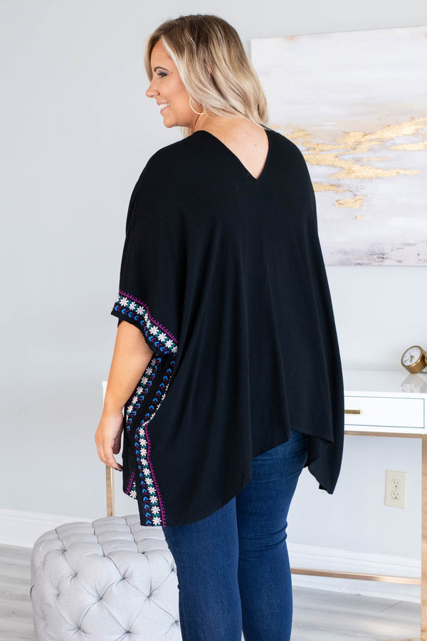 tunic, short sleeve, vneck, crisscross neckline, asymmetrical hem, flowy, black, embroidered, blue, white, red, green, comfy