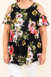 shirt, short sleeve, cold shoulder, babydoll, curved hem, long, flowy, black, floral, white, yellow, pink, green, comfy