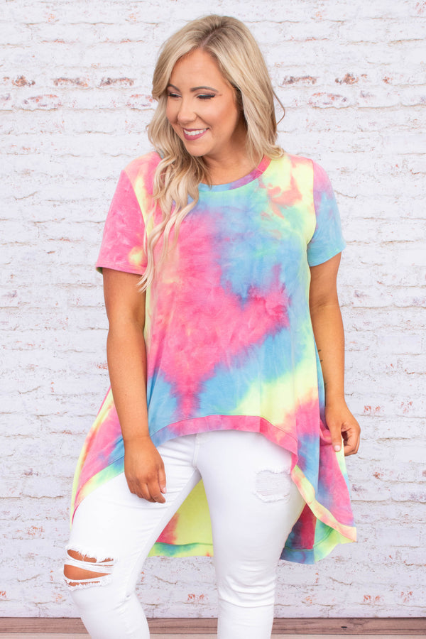 shirt, short sleeve, long back, flowy, pink, yellow, blue, tie dye, comfy