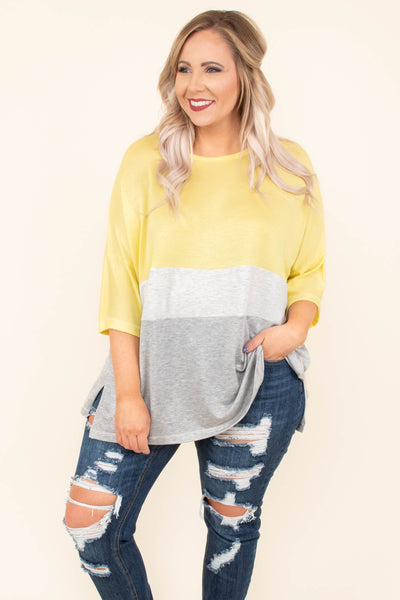 tunic, three quarter sleeve, long, flowy, yellow, white, gray, colorblock, comfy