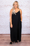 dress, maxi dress, long, floor length, spaghetti strap, v neck, black, loose, comfy, spring, summer