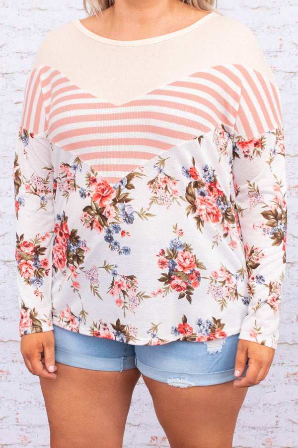 shirt, long sleeve, curved hem, loose, white, floral, green, pink, blue, stripes, colorblock, comfy