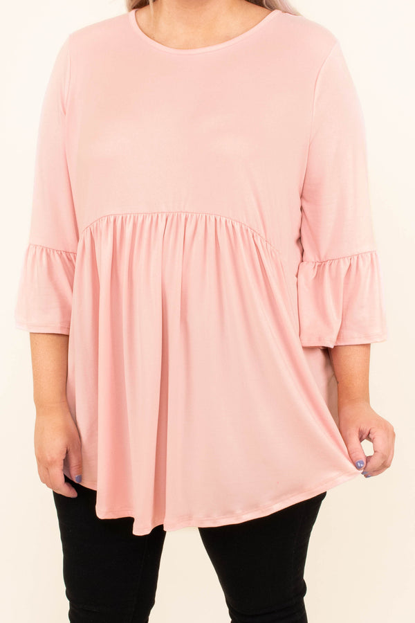 shirt, three quarter sleeve, bell sleeves, curved hem, long, flowy, babydoll, blush, comfy