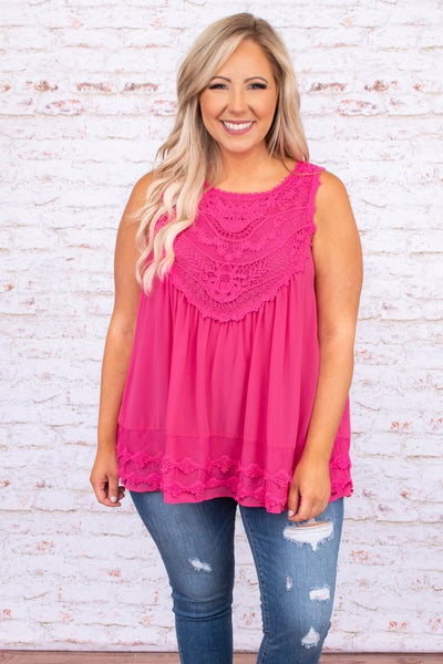 shirt, tank, sleeveless, hot pink , flowy, crochet detailing, spring, summer, comfy, loose
