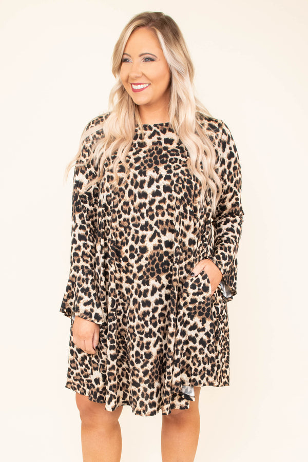 dress, short, long sleeve, pockets, bell sleeves, flowy, comfy, brown, black, leopard, fall, winter