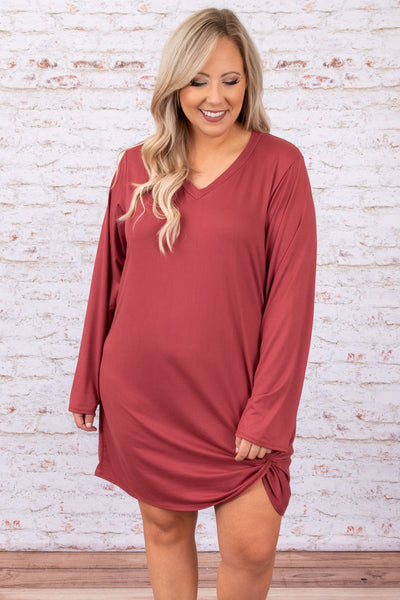 dress, casual dress, pink, v-neck, solid, long sleeve