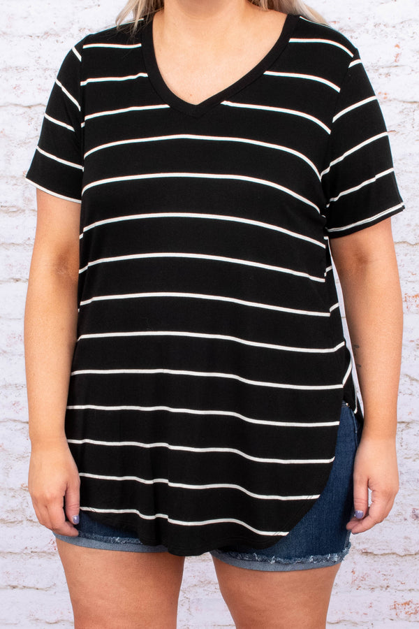 top, tee, short sleeve, striped, black