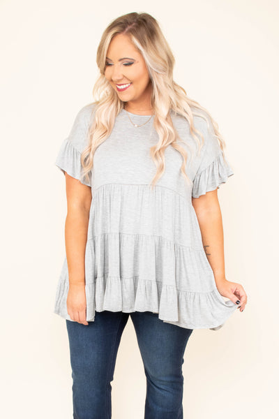tunic, short sleeves, babydoll, ruffles sleeves, ruffle torso, heather gray, solid, comfy, flowy