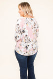 shirt, three quarter sleeves, twisted hem, pink, white, floral