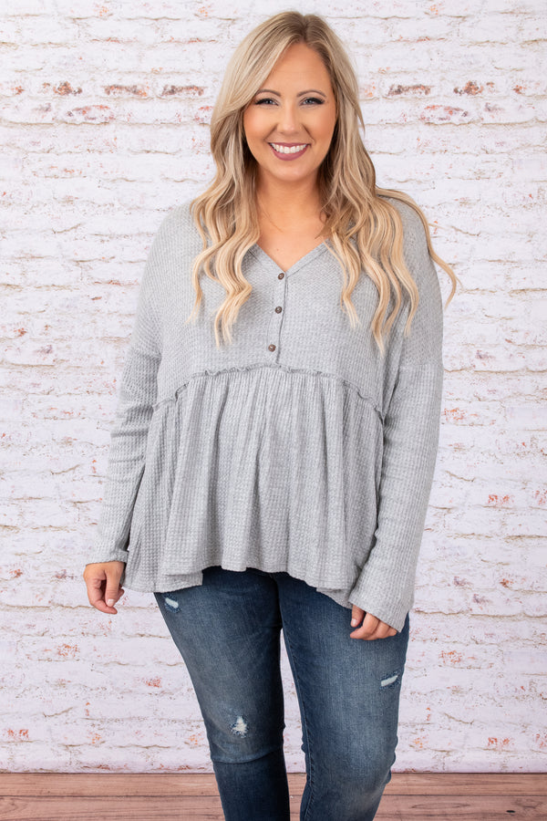 top, casual, babydoll, gray, grey, heather, long sleeve, buttons, flowy
