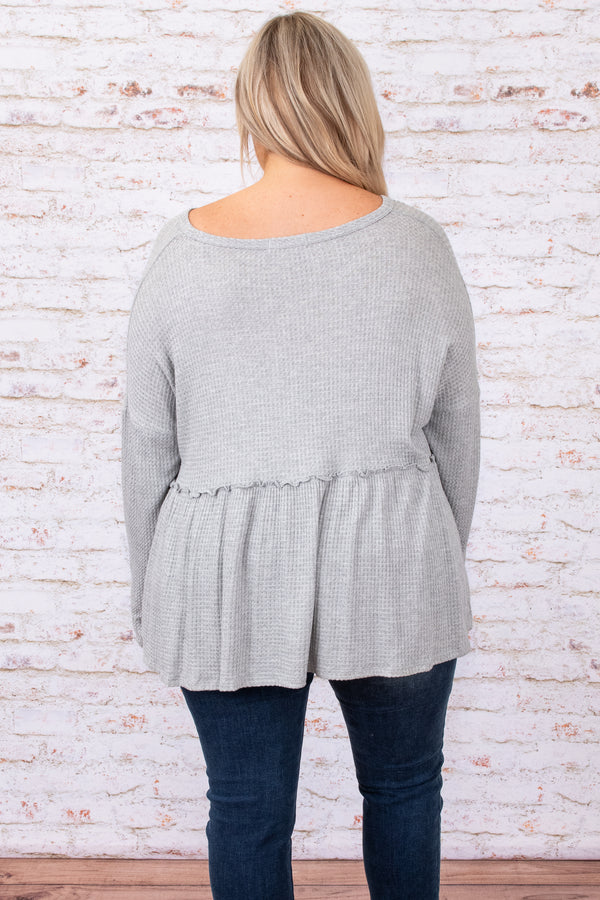 top, grey, buttons, babydoll, figure flattering, solid, long sleeve