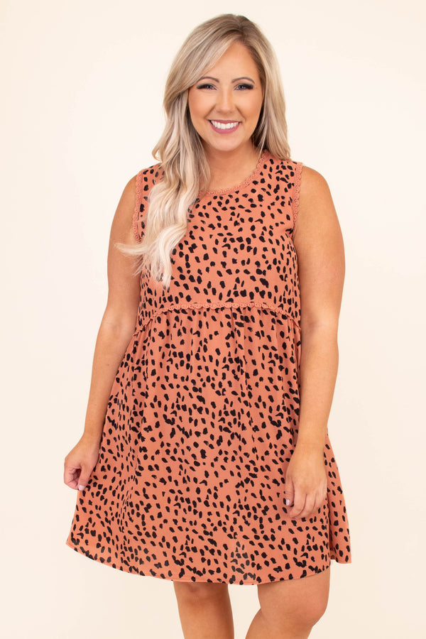 dress, sleeveless, babydoll, salmon, black, leopard, short, above the knee, loose, flowy