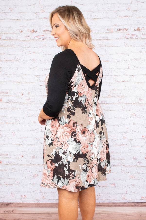 Swaying To The Music Dress, Black-Taupe