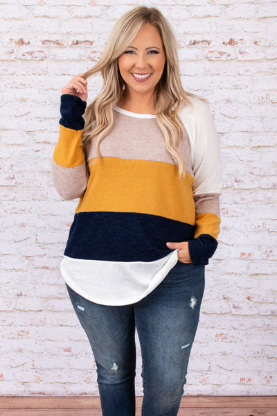 top, casual top, white, yellow, tan, colorblock, long sleeve