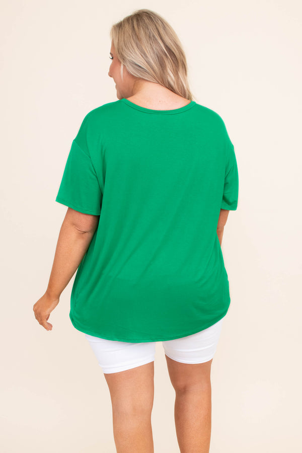 tshirt, short sleeve, long, loose, green, graphic, lucky girl, clover, white, comfy