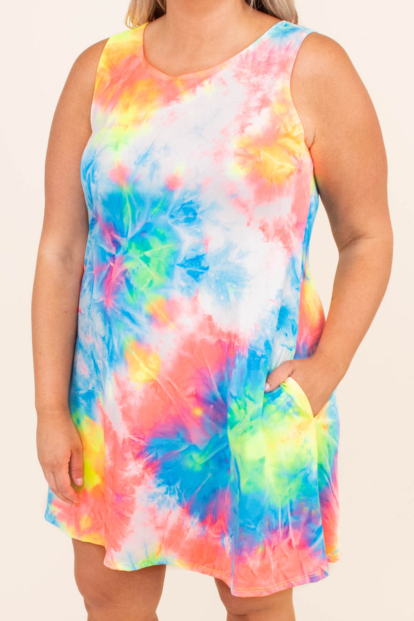 dress, sleeveless, tie dye, muticolored, broight, blue, pink, green, yellow, comfy, spring, summer, pockets, short, above the knee, comfy