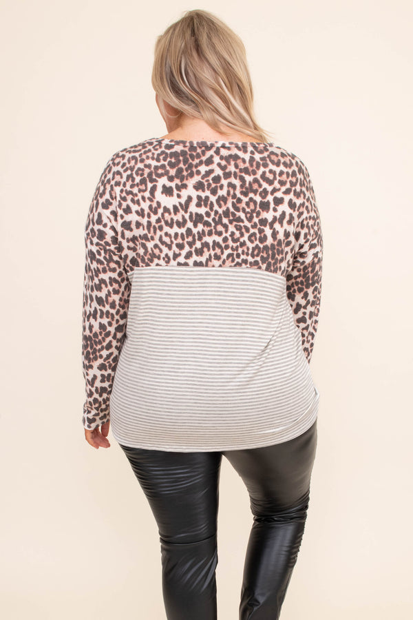 shirt, long sleeve, chest pocket, fitted, colorblock, gray, tan, stripes, coral, brown, leopard, comfy