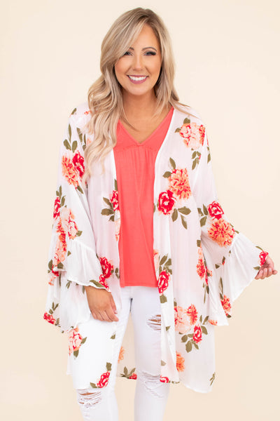 kimono, long, long sleeve, ruffle sleeves, bell sleeves, floral,  ivory, peach, red, loose, light weight