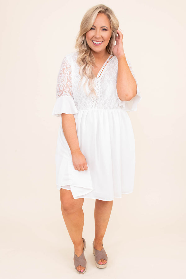 dress, short, short sleeve, vneck, babydoll, flowy, lace top, ruffle sleeves, white, comfy, spring, summer