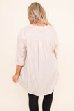 shirt, three quarter sleeve, vneck, quarter button down, babydoll, flowy, longer back, beige, comfy