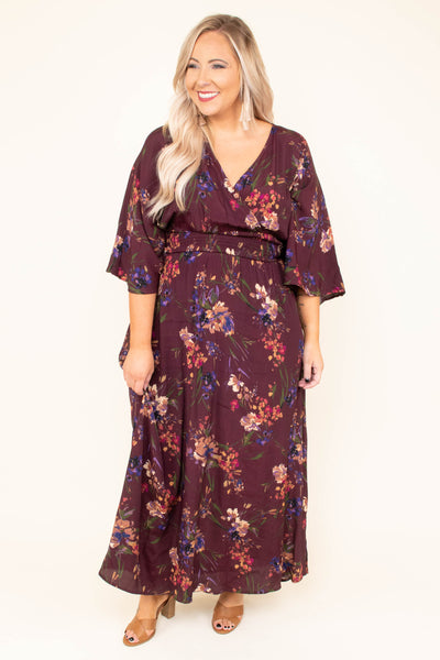 Dancing All Around Maxi Dress, Burgundy