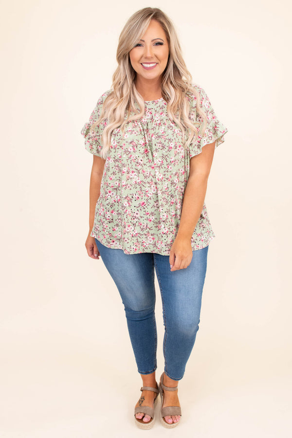 shirt, short sleeve, floral, sage, pink, loose, comfy, spring, summer