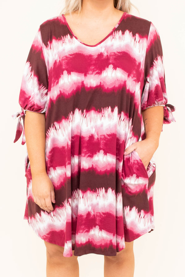 dress, burgundy, red, white, tie-dye, short, stripes, flowy, spring, summer