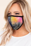 face mask, ear loops, tie dye, black, blue, pink, yellow, comfy, covid