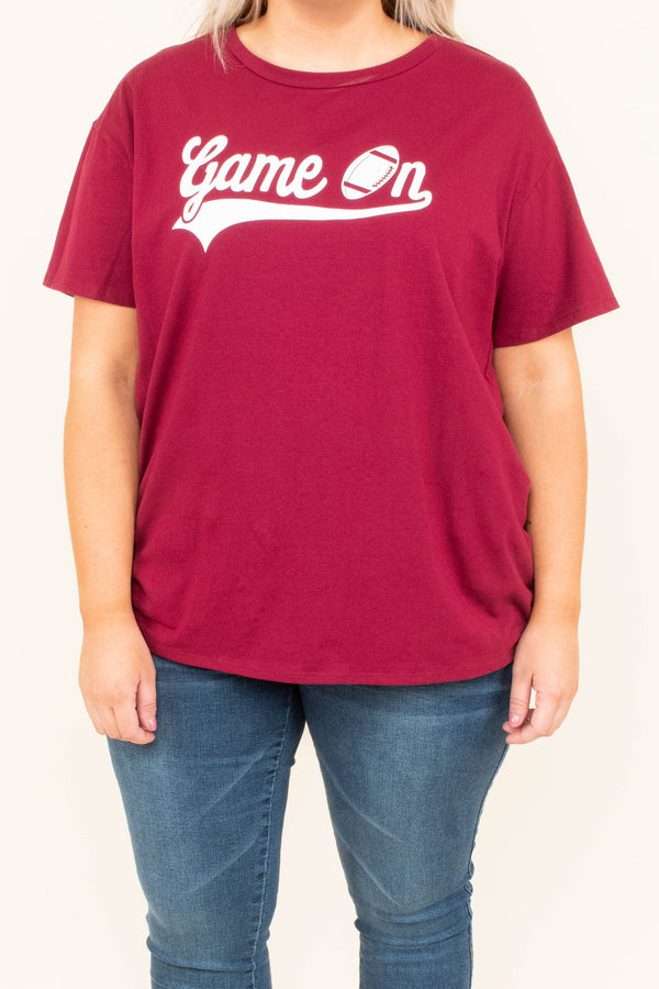 top, short sleeve, graphic, football, game on, maroon, white
