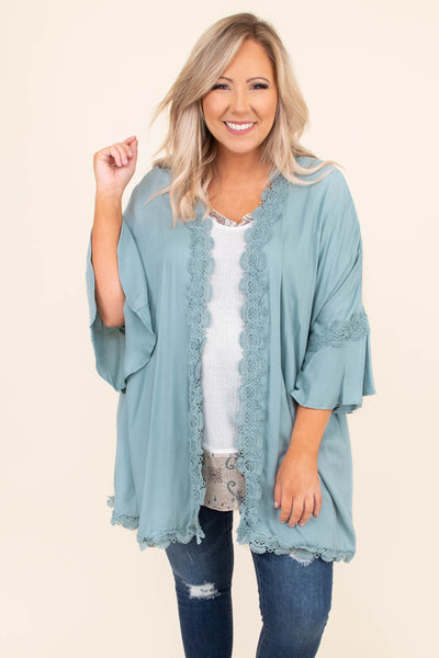 kimono, blue, ash blue, crochet detailing trip, loose sleeves, three quarter sleeves, bell sleeves, light weight, loose, comfy