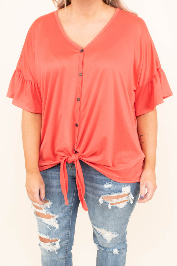 shirt, short sleeve, ruffle sleeves, vneck, button down, tie front, coral, solid, comfy, longer back