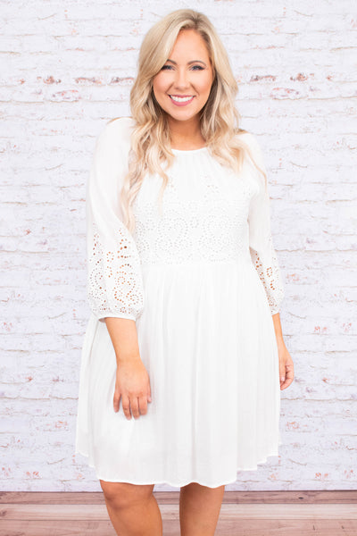 dress, short, three quarter sleeve, lace top, flowy, white, comfy, spring, summer