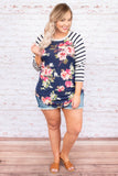top, long sleeve, navy, pink floral, white stripe, comfy, t shirt