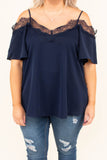 blouse, short sleeve, flowy sleeves, cold shoulder, vneck, lace, navy, solid, flowy