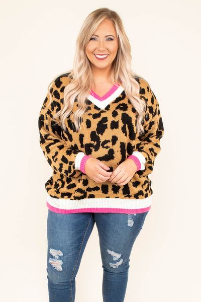 Pouncing On My Goals Sweater, Leopard
