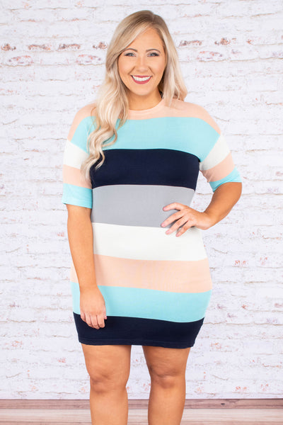 Sleek Impressions Dress, Navy Multi