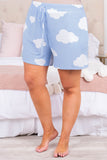 shorts, above knee, drawstring, lounge pants, pale blue, clouds, loose, comfy
