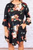 dress, short, three quarter sleeve, pockets, curved hem, bell sleeves, fitted top, flowy skirt, black, floral, blue, green, red, white, comfy