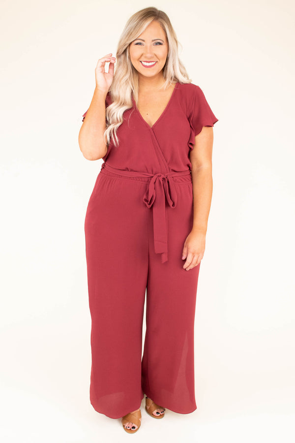 Try Not To Stare Jumpsuit, Marsala