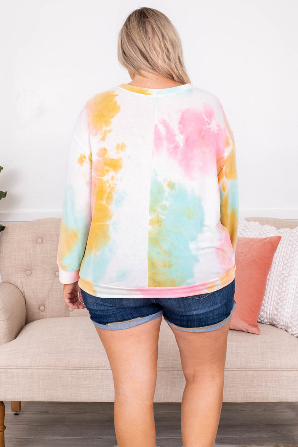 shirt, top, tie dye, loose, comfy, mint, pink, yellow, white