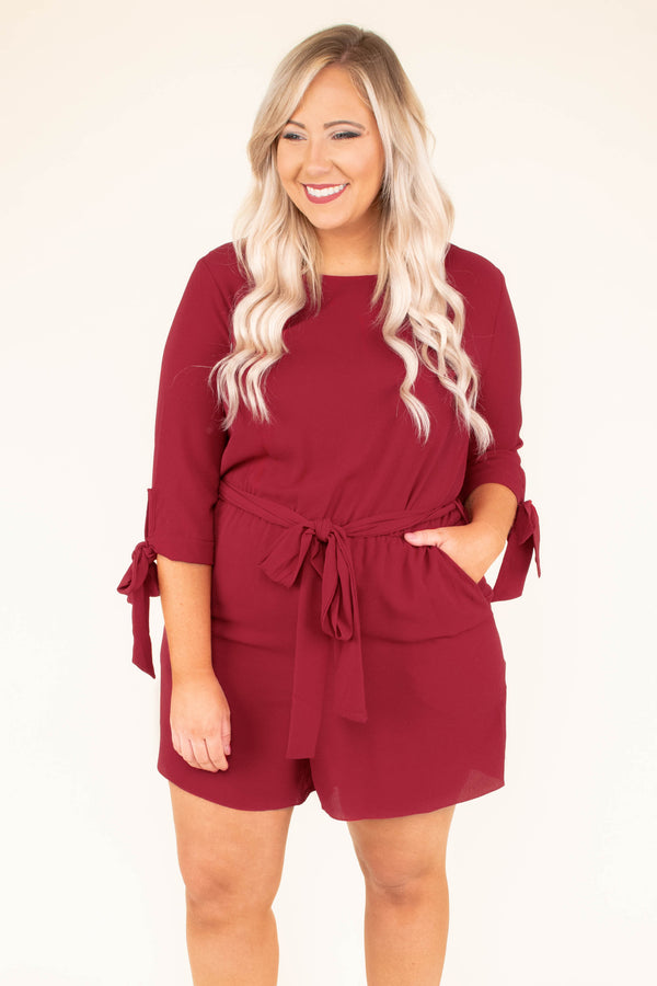 romper, three quarter sleeve, shorts, tie cuffs, belted waist, red, comfy
