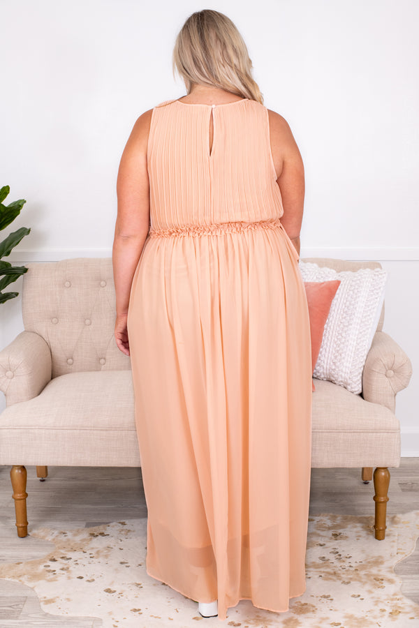 dress, maxi dress, sleeveless, ruffle waistline, champagne, knee length skirt underneath, sheer skirt overlay, spring, summer