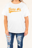 top, short sleeve, graphic, football, game on, orange, white