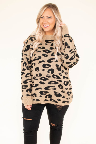 sweater, long sleeve, short, mocha, black, leopard, comfy, fall, winter