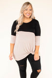 tunic, three quarter sleeves, twisted hem, black, taupe, colorblock, comfy, fall, winter